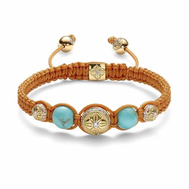 Shamballa macramé armbånd i gult gull med diamanter og turkis