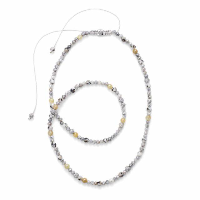 Shamballa kjede i hvitt gull med gul safir, hvit granitt og diamanter