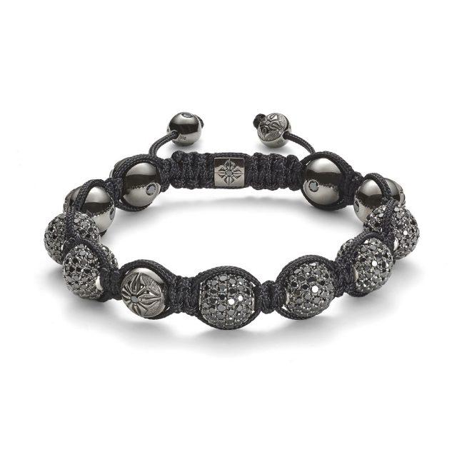 Shamballa 10mm armbånd med sorte diamanter