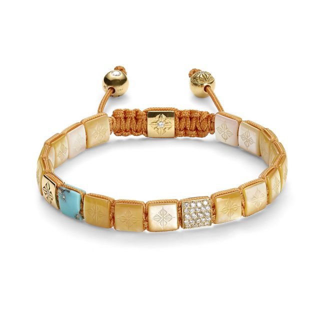 Shamballa lock armbånd i rosé gull med perlemor og turkis