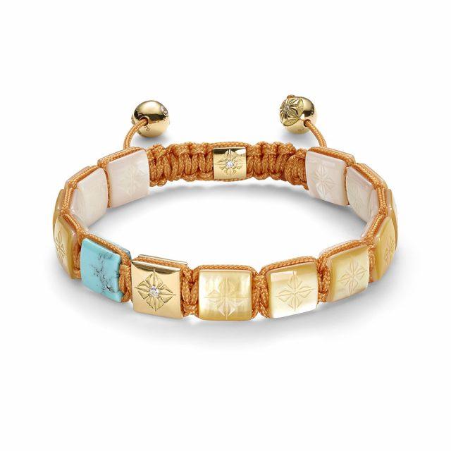 Shamballa big lock armbånd med perlemor, turkis og rosé gull
