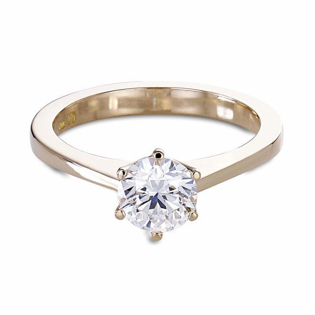 6-klørs forlovelsesring i roségull med briljantslipt diamant
