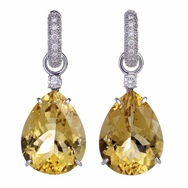 Creol-ørepynt i hvitt gull med diamant og citrin