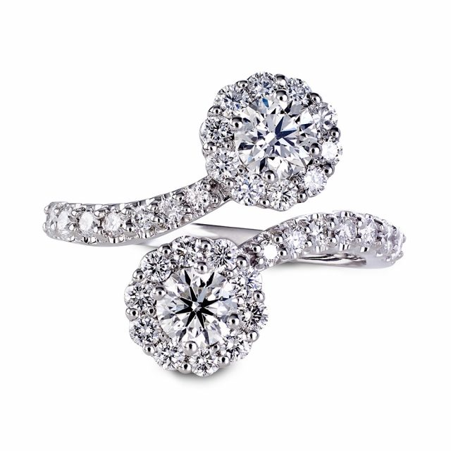 Dobbel exclusive ring i hvitt gull med brillianter