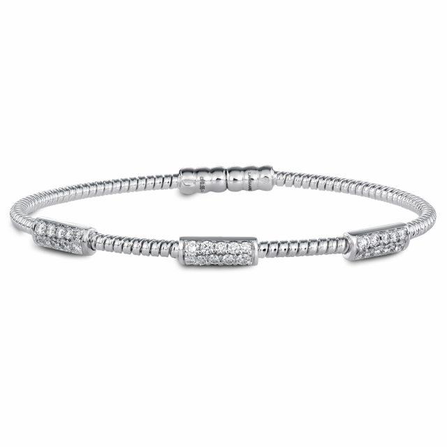 Magnetlåst armbånd i hvitt gull med diamanter