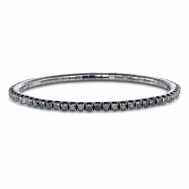 Armbånd New Tennis sortrhodinert hvitt gull med sorte diamanter
