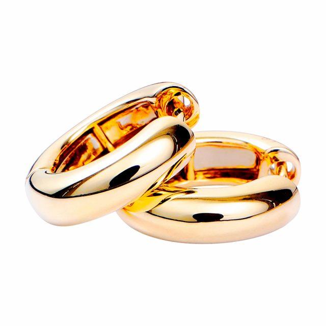 Store runde creol-ørepynt i gult gull med diamant
