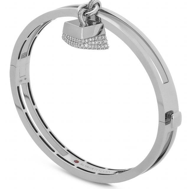 Sauvage Privé armring i hvitt gull med diamantheng
