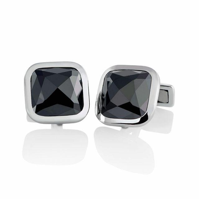 Mansjettknapper i platina med sorte diamanter på tot. 20,06 ct.