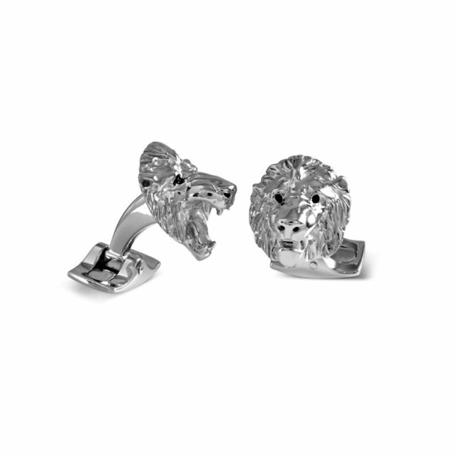 Løvehode mansjettknapper i sølv