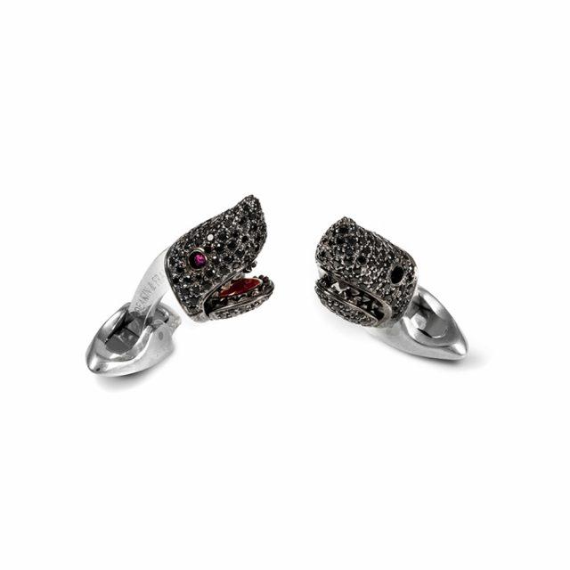 Haihode mansjettknapper i sølv med sort spinell og rubin
