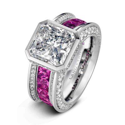 Diamantring med radiantslipt diamant og rosa spineller