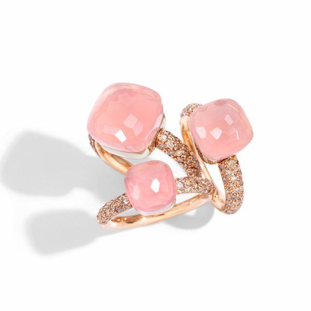 NUDO ringer i roségull med rosenkvarts og champagnefargede diamanter
