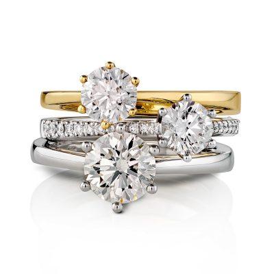 Tre forlovelsesringer