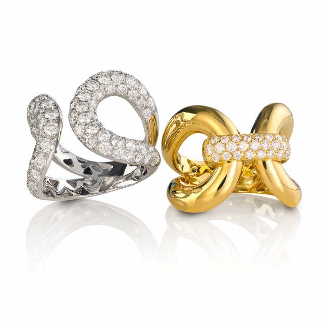 Ring i gult og hvitt gull med diamanter