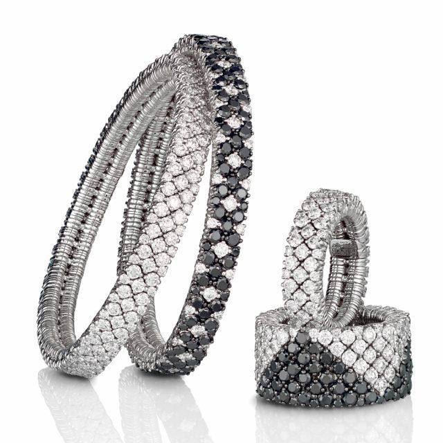 Cashmere armbånd og ringer i hvitt gull med sorte og hvite diamanter