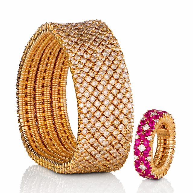 Cashmere armbånd og ring i rosé gull med champagne diamanter og rubiner