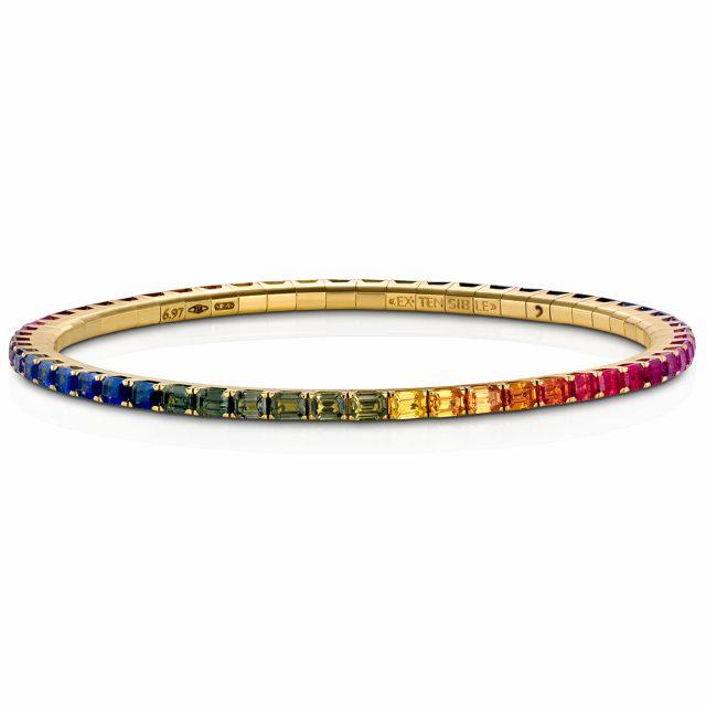 Armbånd New Tennis med regnbuefargede safirer