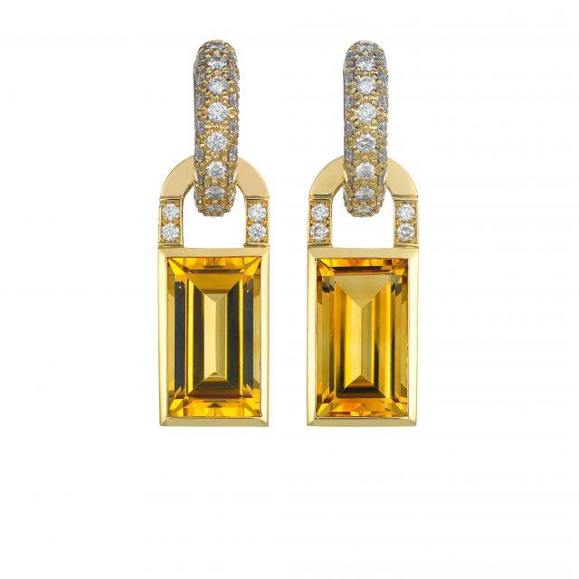 Creol ørepynt i gult gull med diamanter og citriner